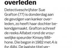 Alfabetauteur Sue Grafton overleden